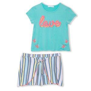 "Blue ""Love"" Sequin Tee & Stripes Shorts girls 12"